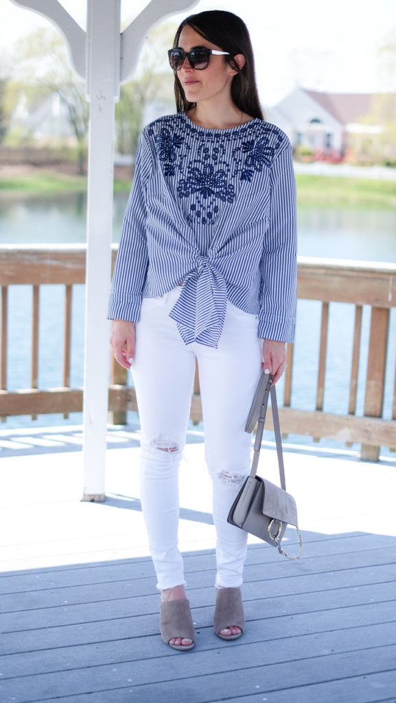 striped blue and white spring outfit