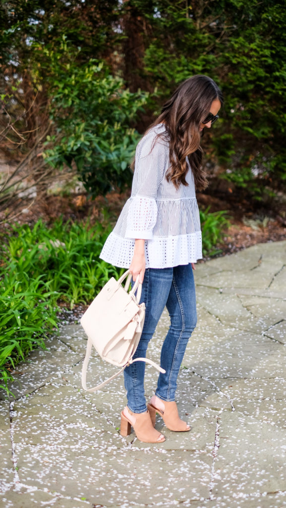 striped peplum shirt outfit