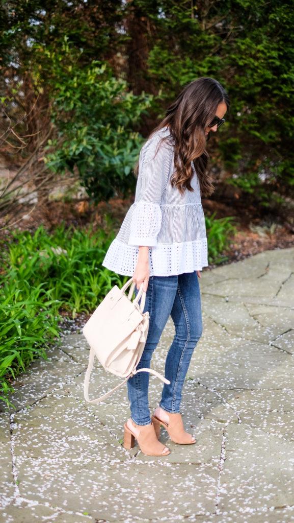 striped peplum shirt outfit