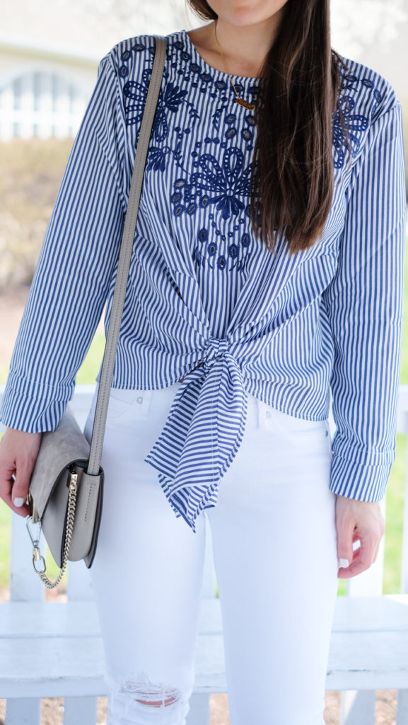 striped summer knotted top