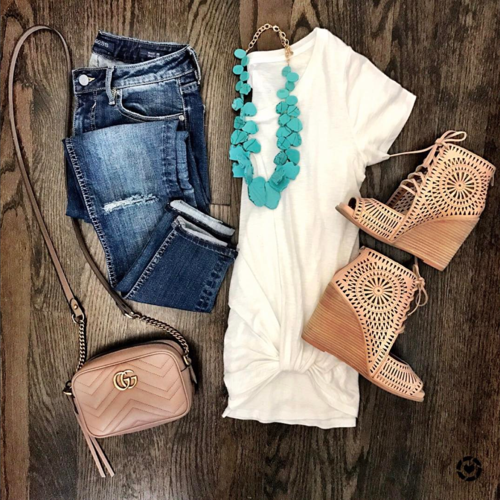 turquoise necklace and white tee outfit