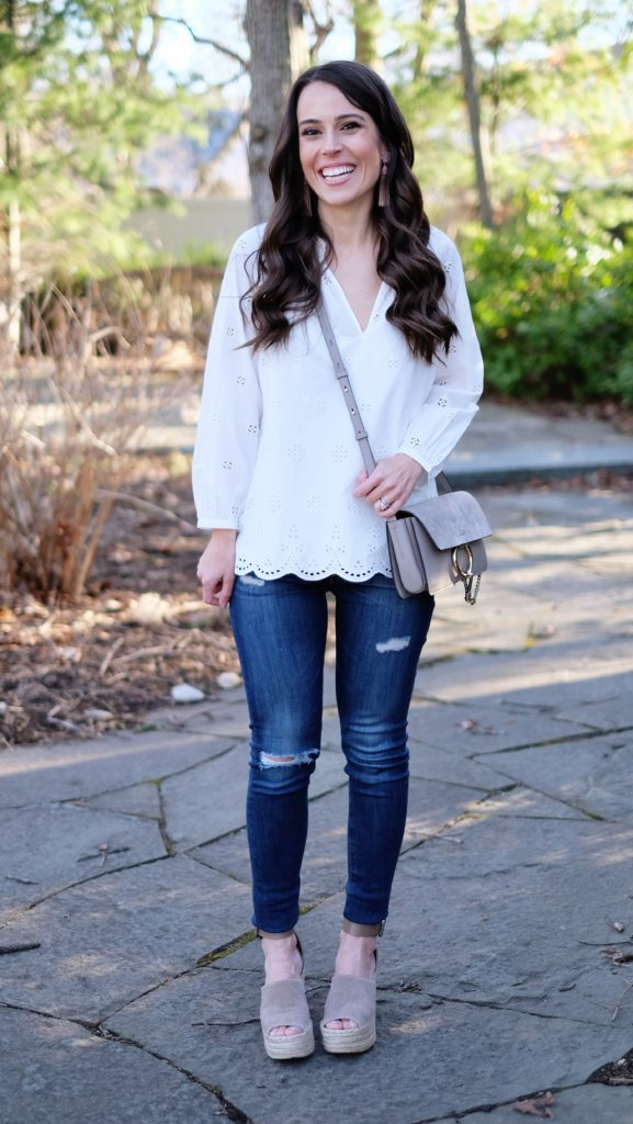 white eyelet top outfit