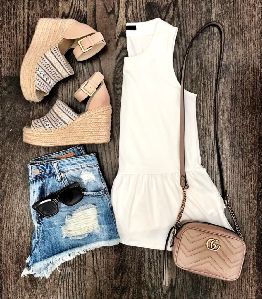 white peplum top outfit