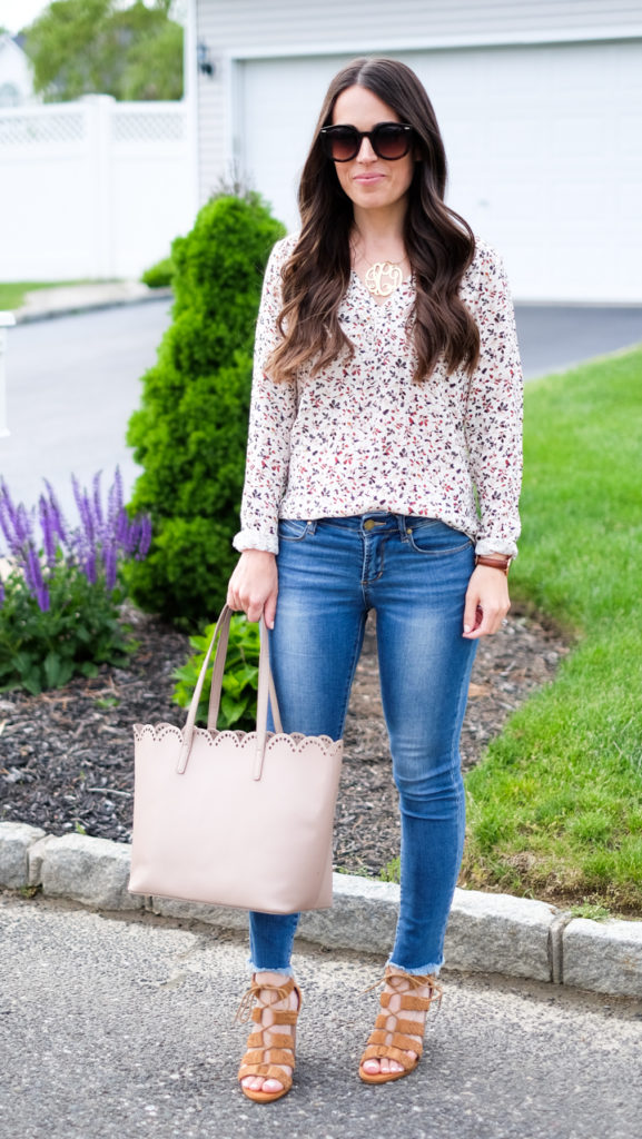 BP nude scallop tote outfit