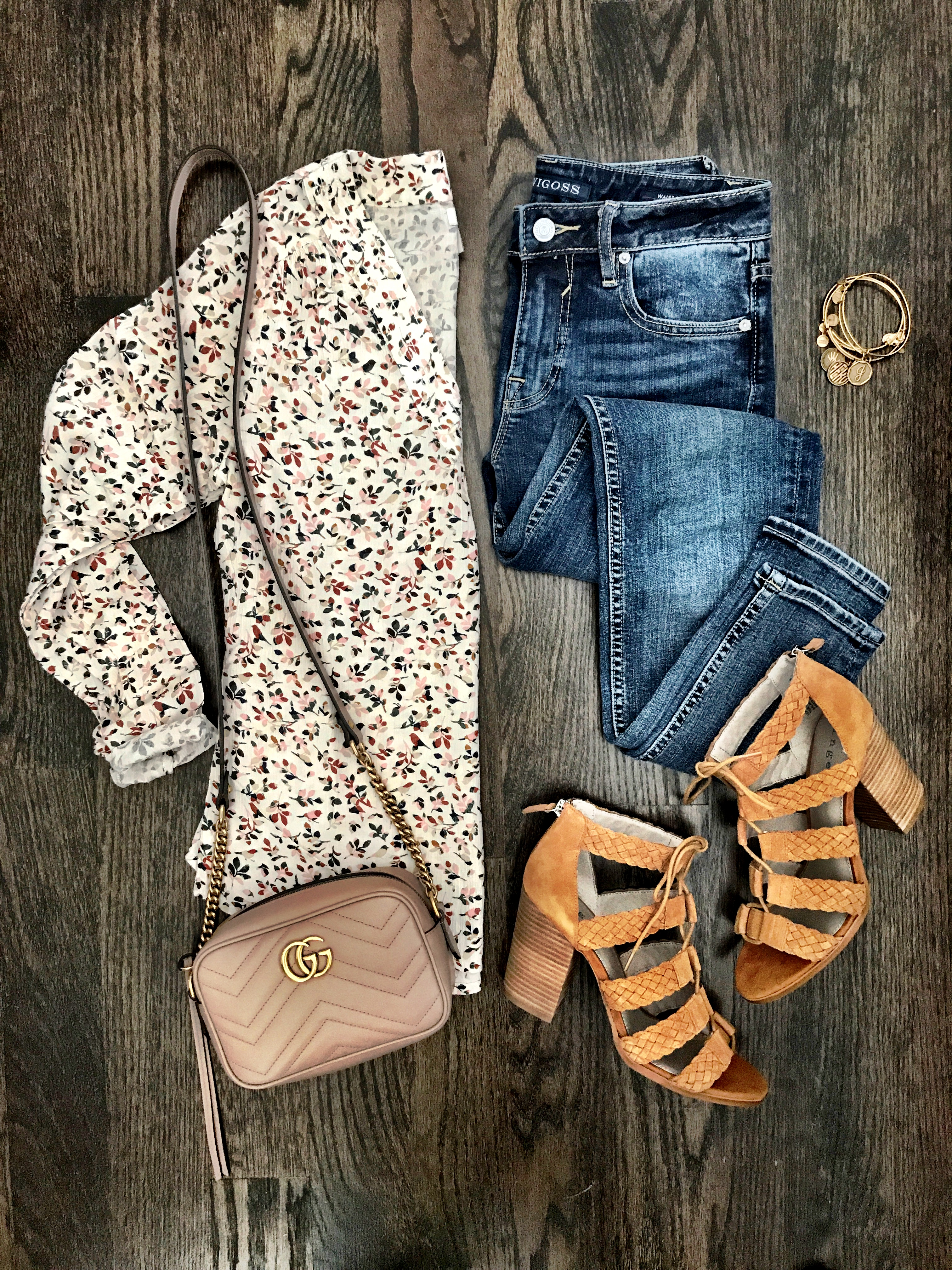 Hinge floral top and lace up block heel sandals