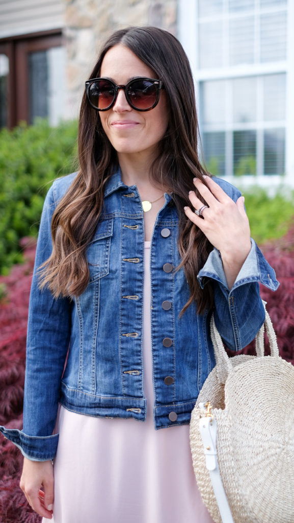 Denim Jacket over sleeveless dress outfit