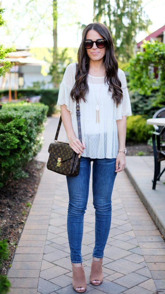 Lace peplum top