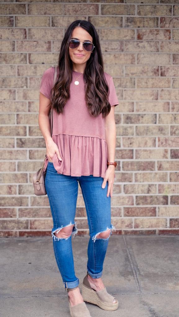 Mrs Casual peplum shirt outfit