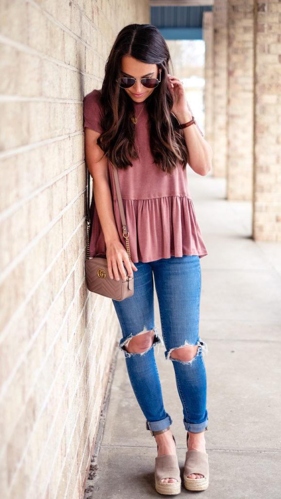 Peplum shirt outfit