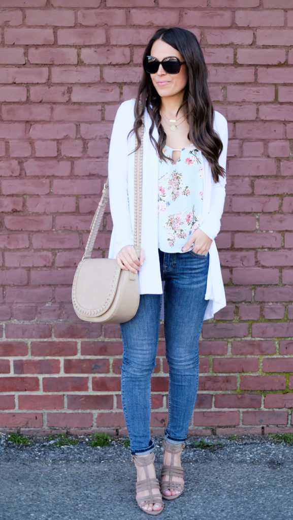 White cardigan spring outfit