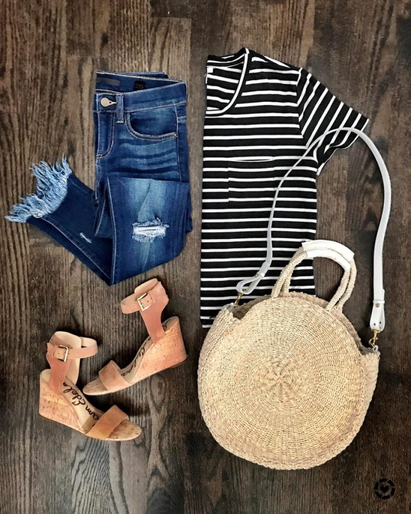 black and white striped tee outfit