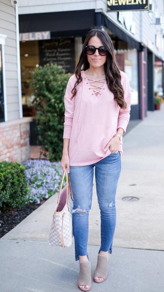 caslon lace up sweatshirt