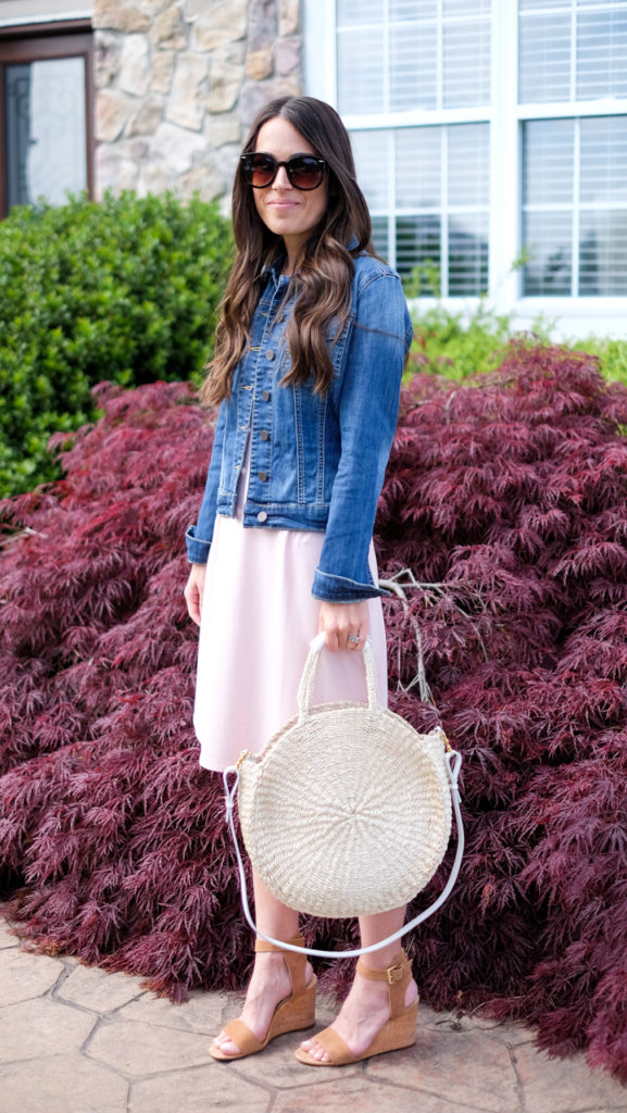 casual denim jacket and dress outfit