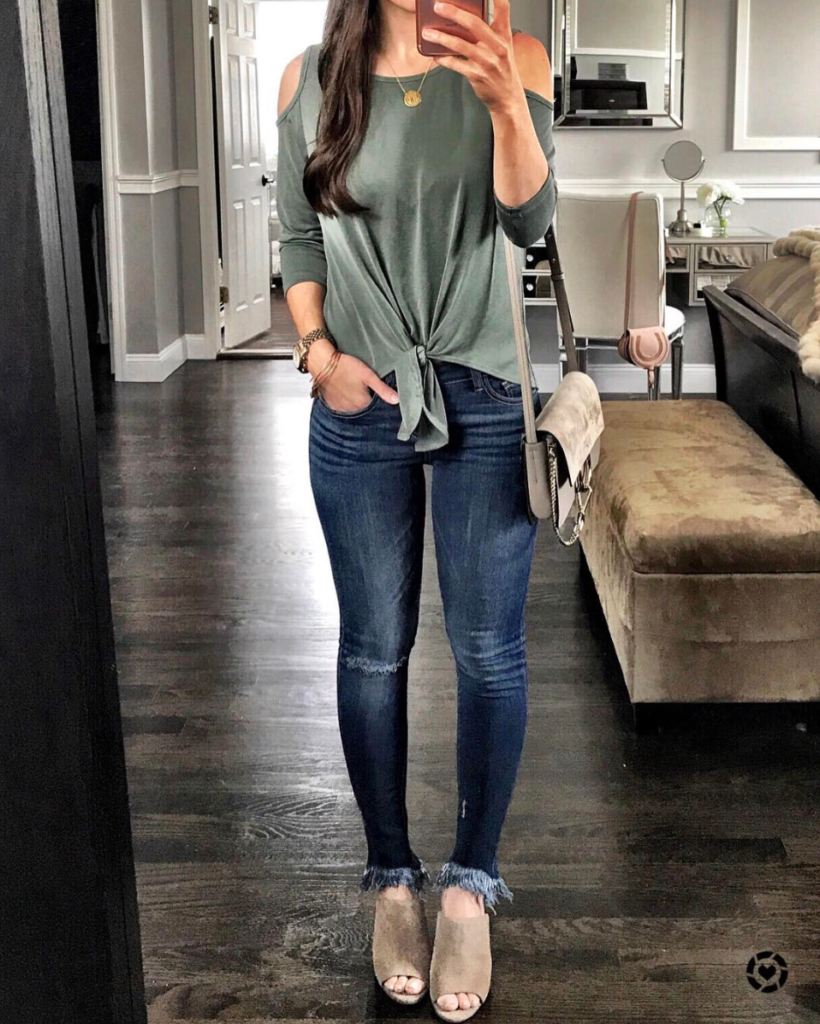 cold shoulder knotted tee outfit