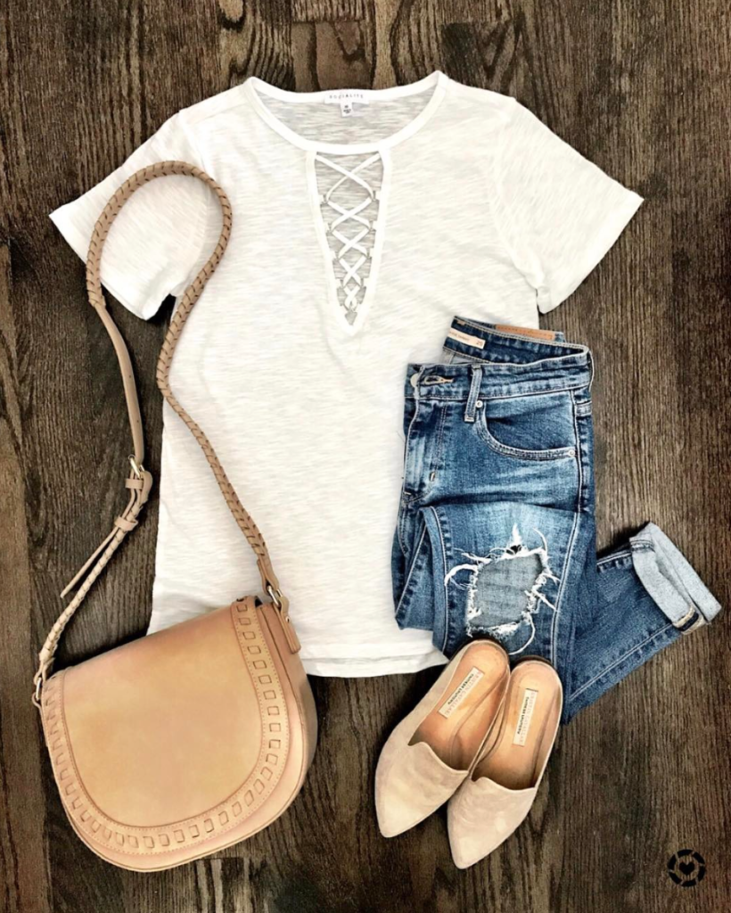 cross front white tee outfit