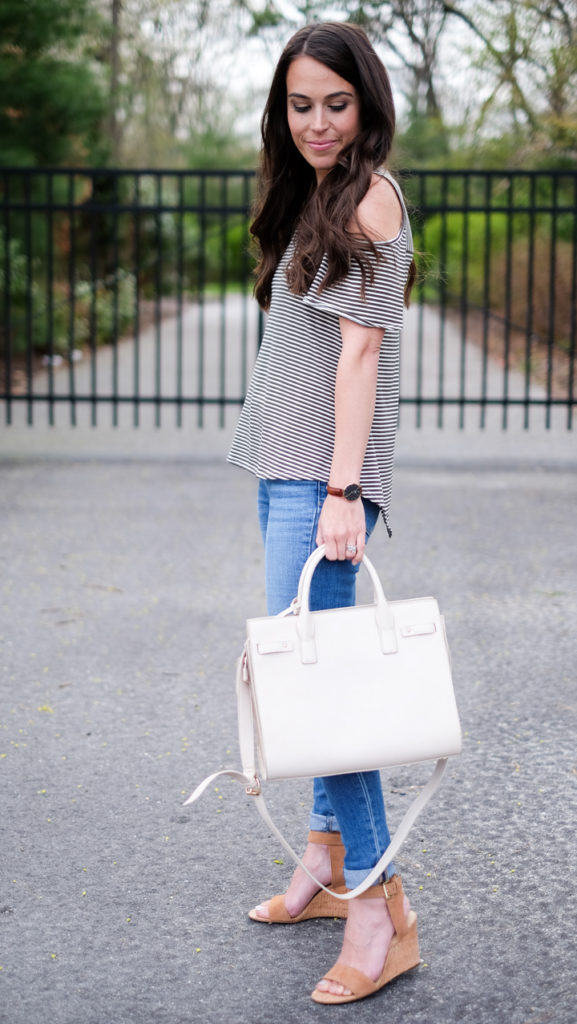 green and ivory striped tee outfit