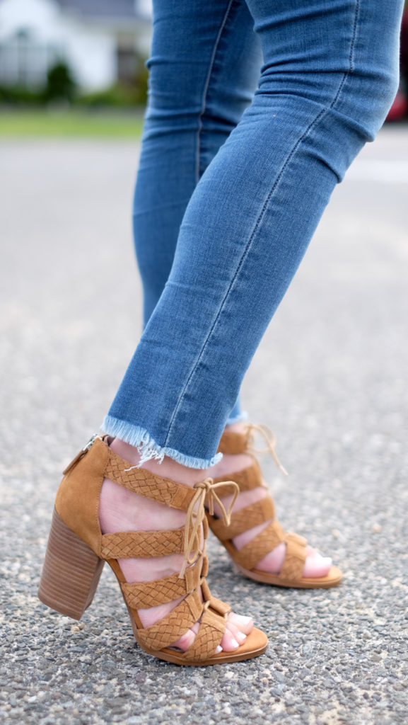 hinge lace up heel sandals