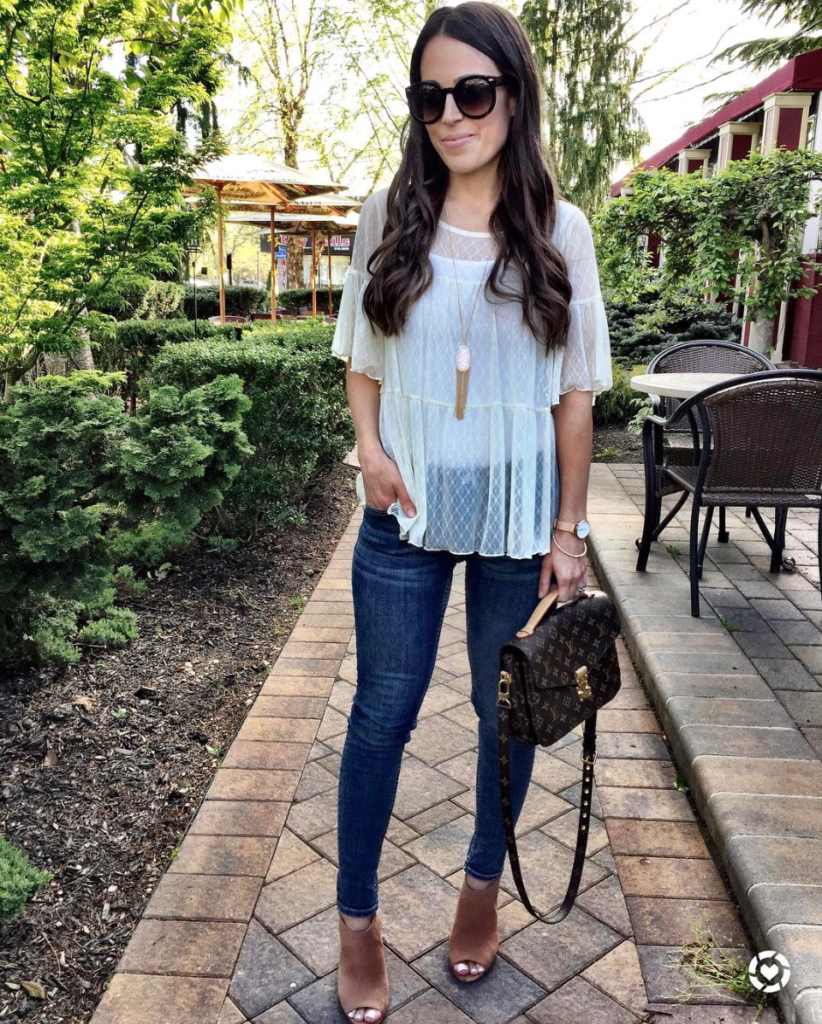 lace peplum top and louis vuitton pochette metis outfit