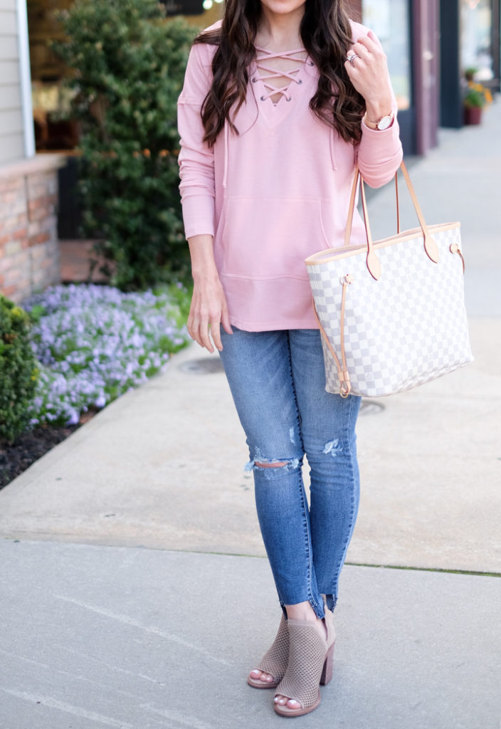 lace up sweatshirt outfit