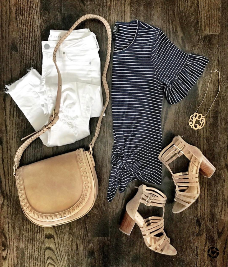 navy and white striped tee outfit