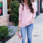 blush lace up sweatshirt