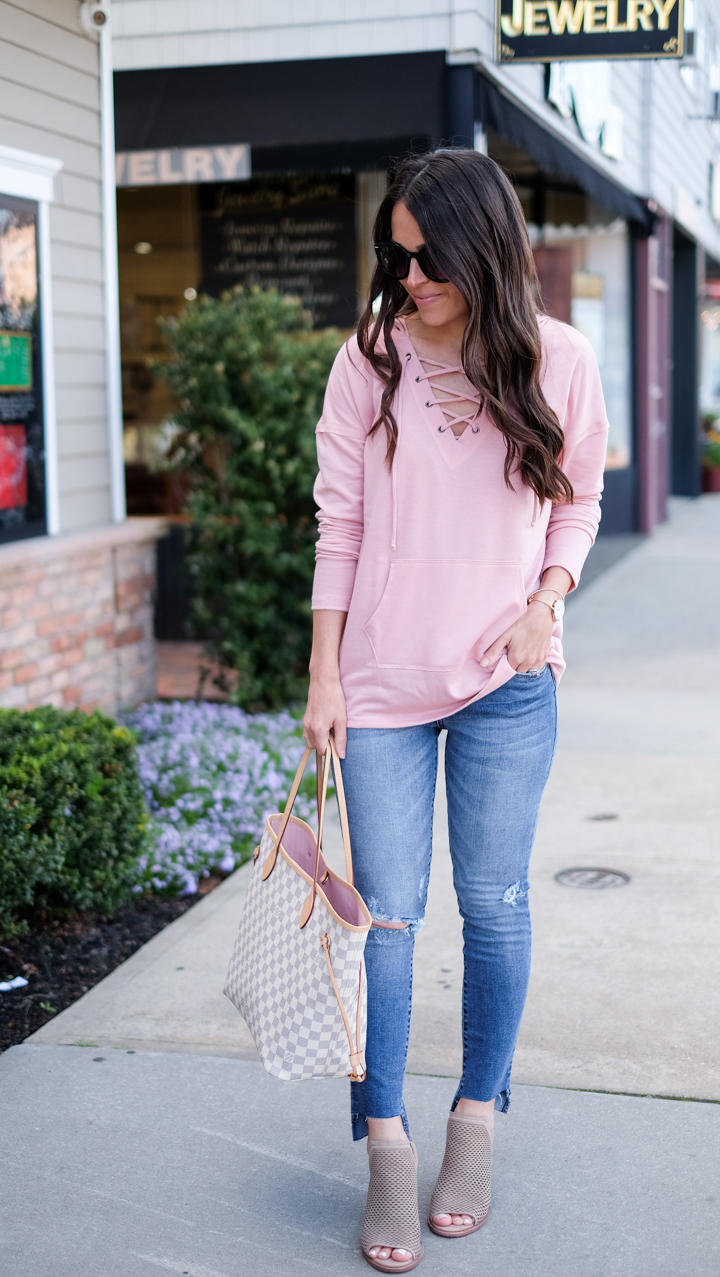 blush lace up sweatshirt