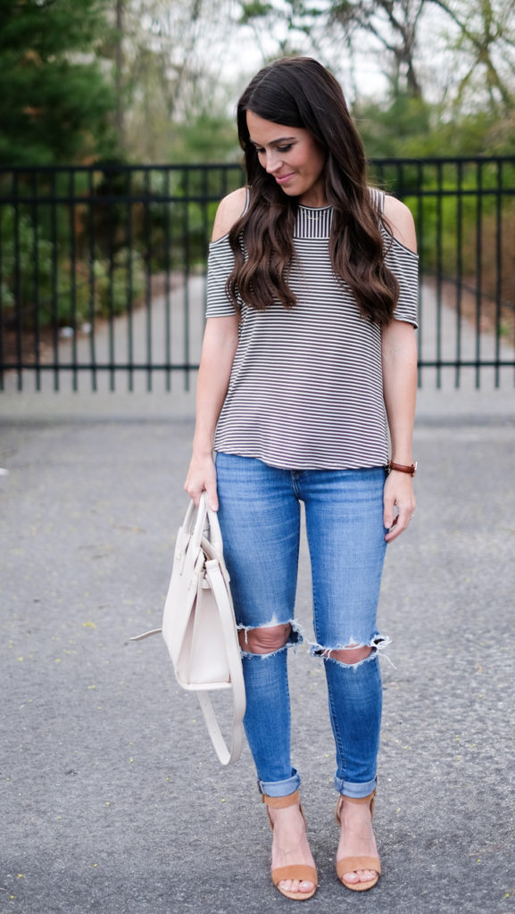 striped shirt casual outfit
