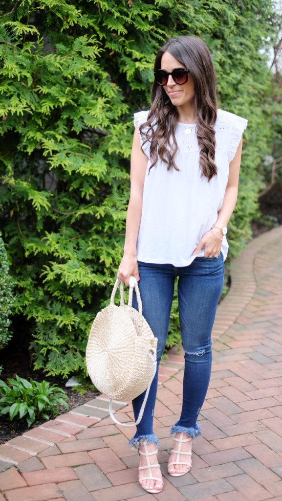 summer straw tote bag