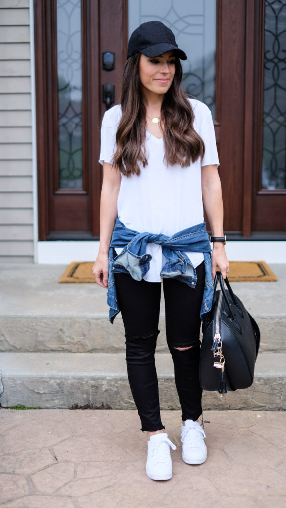 white tee weekend outfit