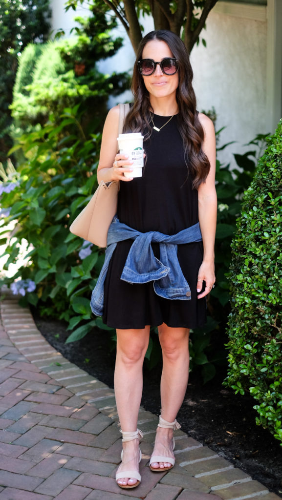Black jersey dress outfit