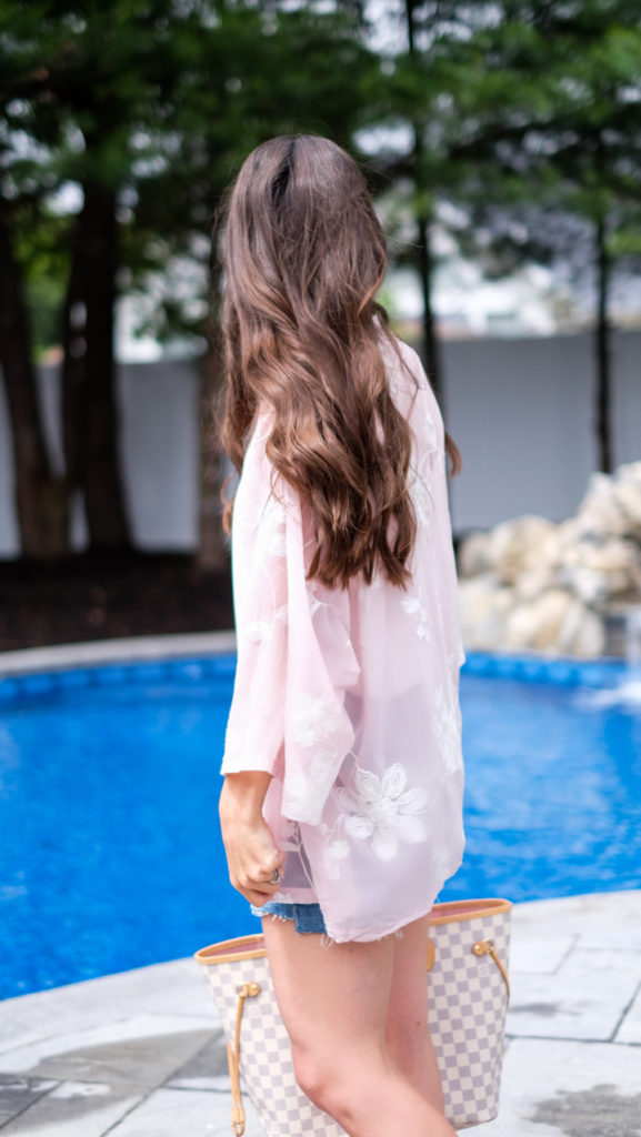 Blush pink foral lightweight kimono