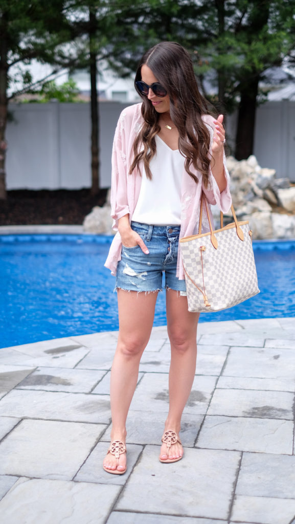 Blush pink kimono outfit and shorts