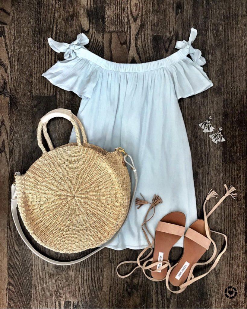 Summer off the shoulder daytime dress