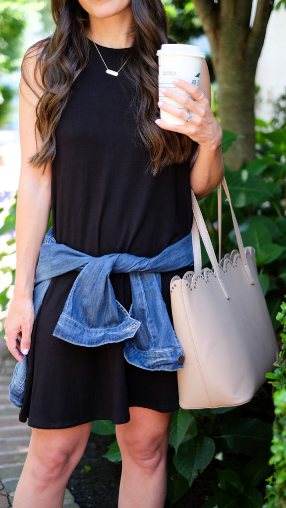 denim jacket and casual dress
