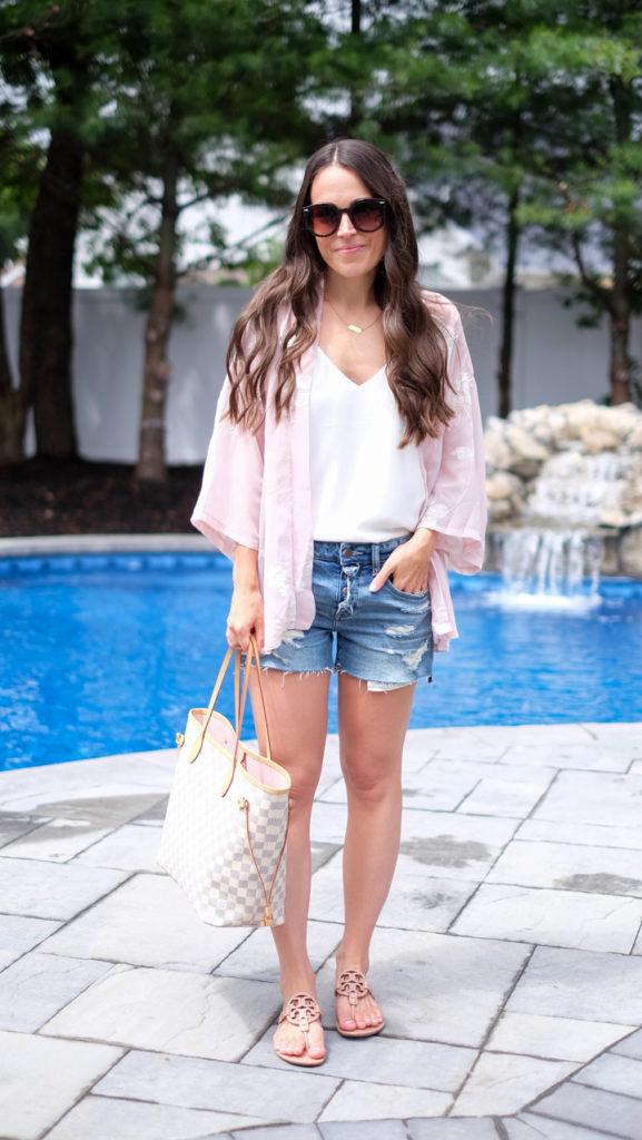 kimono and shorts outfit