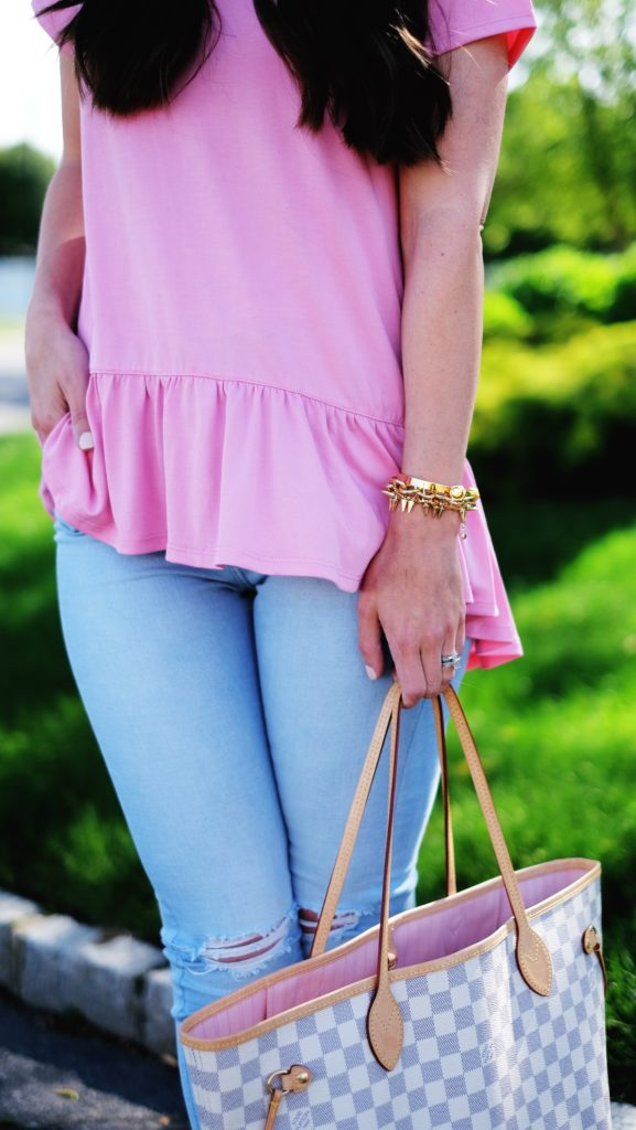 pink peplum outfit