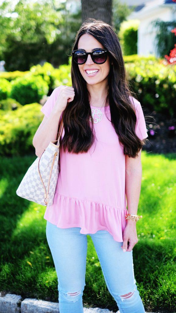 pink peplum summer outfit