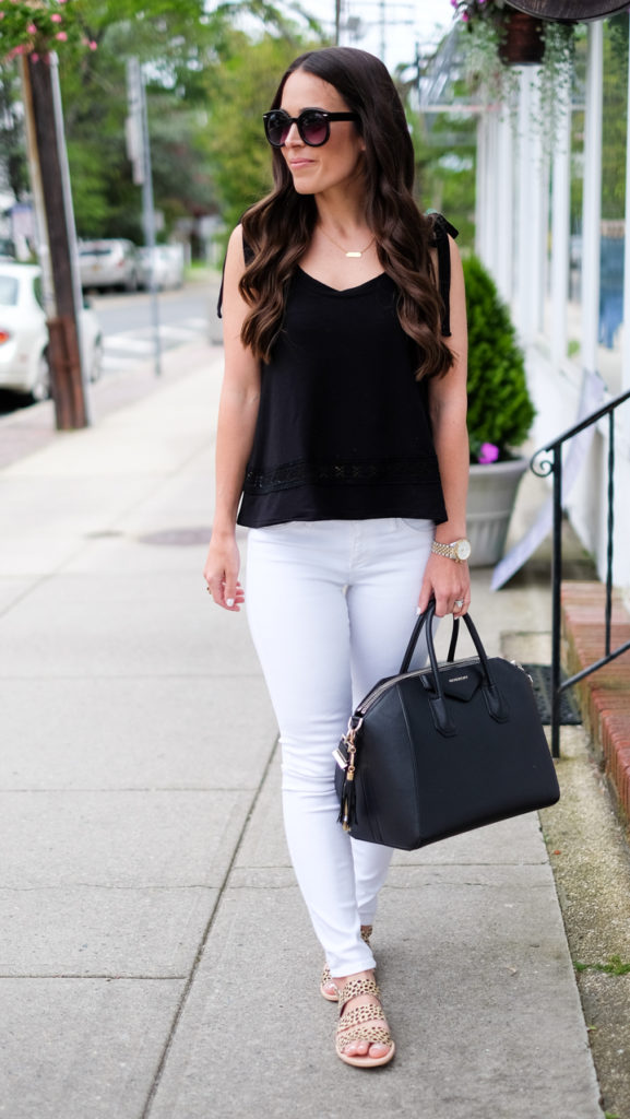 white jeans and black top outfit