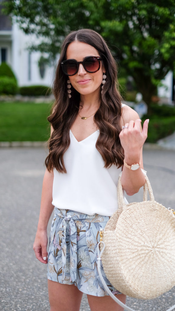 white tank and printed shorts outfit