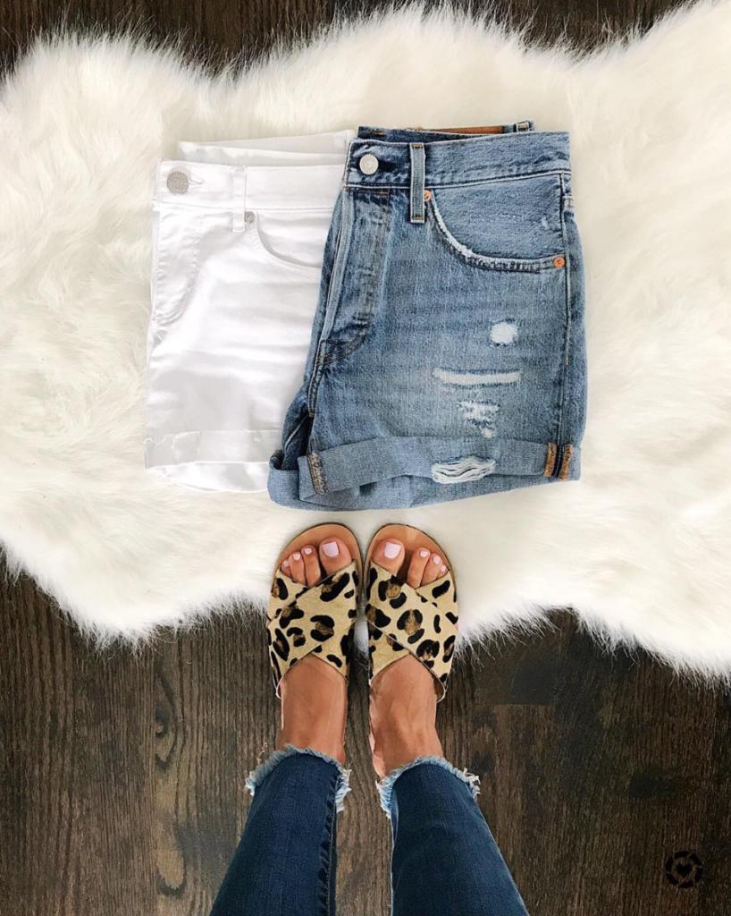 denim shorts and leopard flats