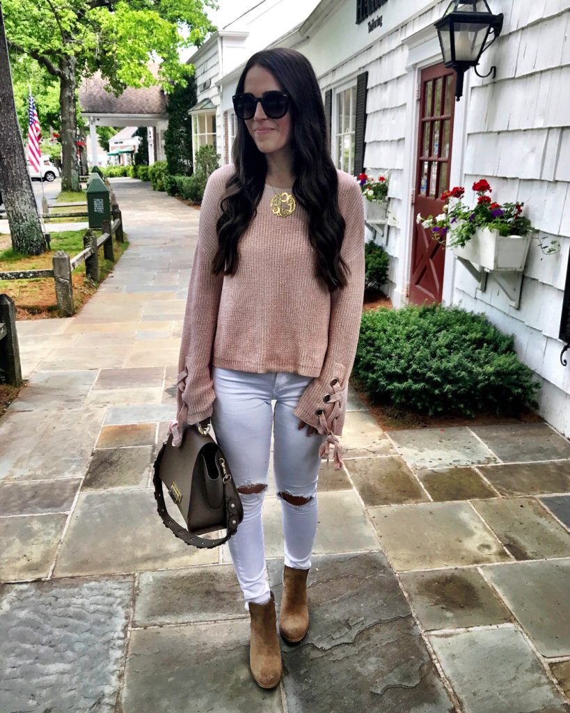 early Fall outfit white jeans