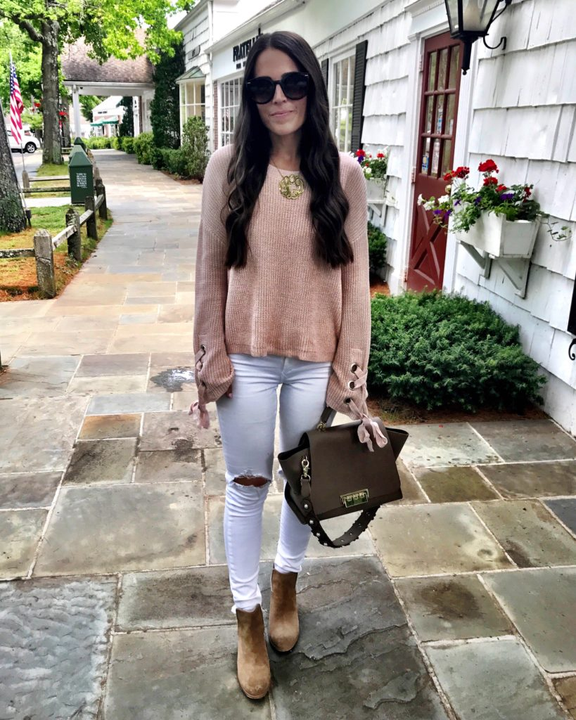 pink sweater white jeans and ankle booties outfit
