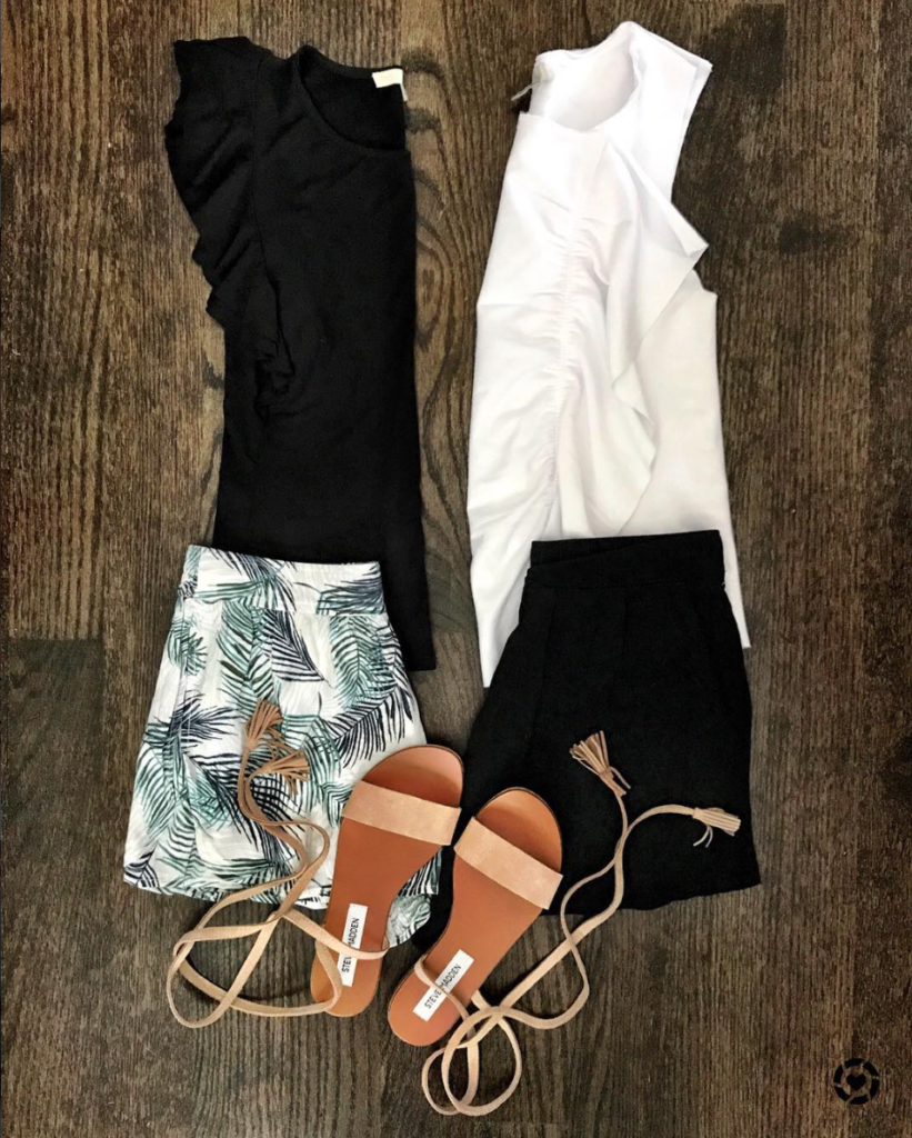 printed shorts and flutter sleeve tank