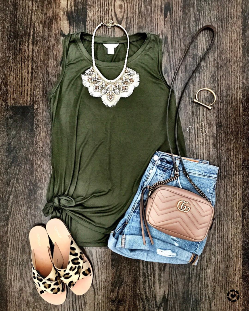 tie front tank olive green