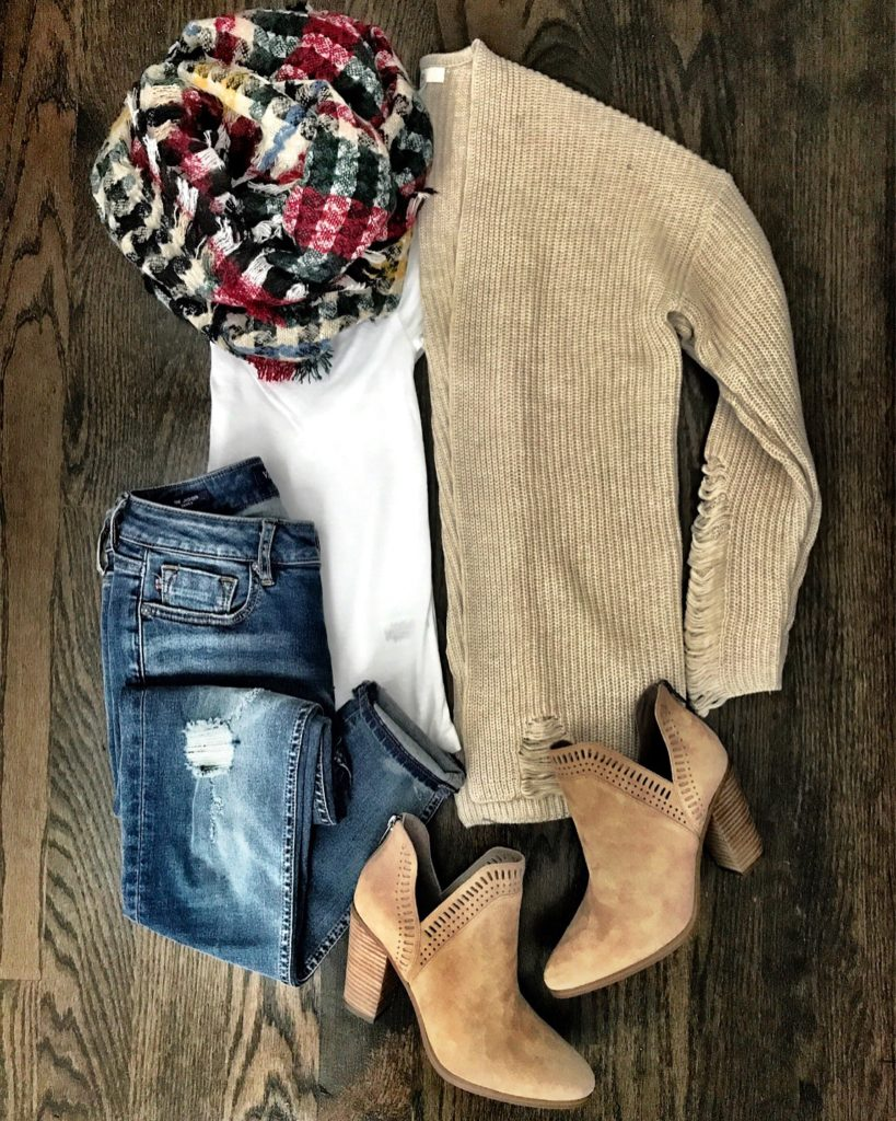 BP cardigan and plaid blanket scarf Fall outfit