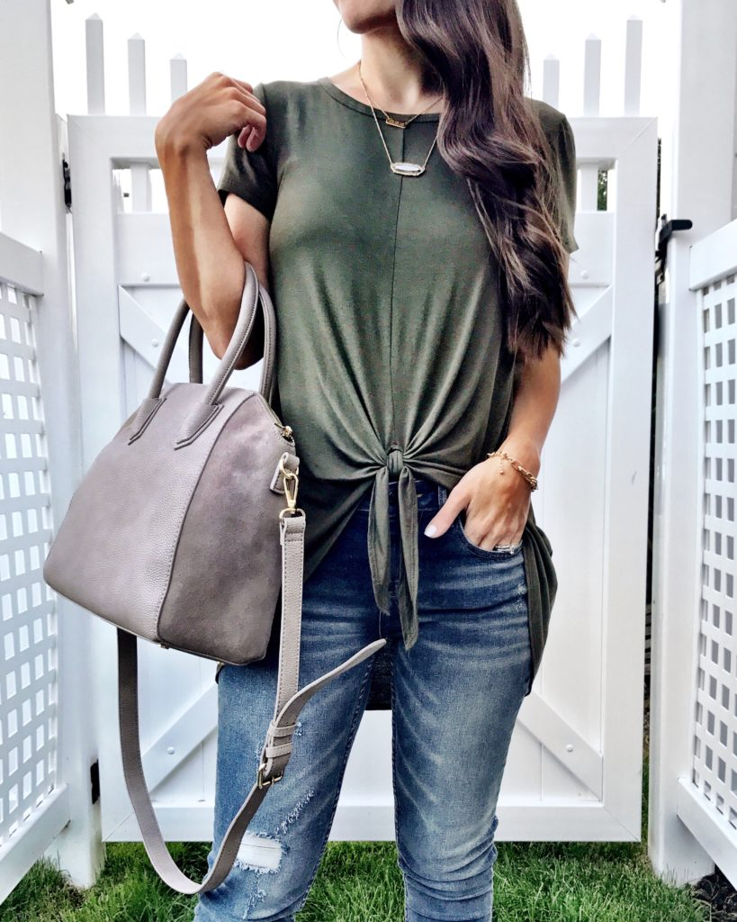 Bobeau Olive Green Tie Front Tee 2