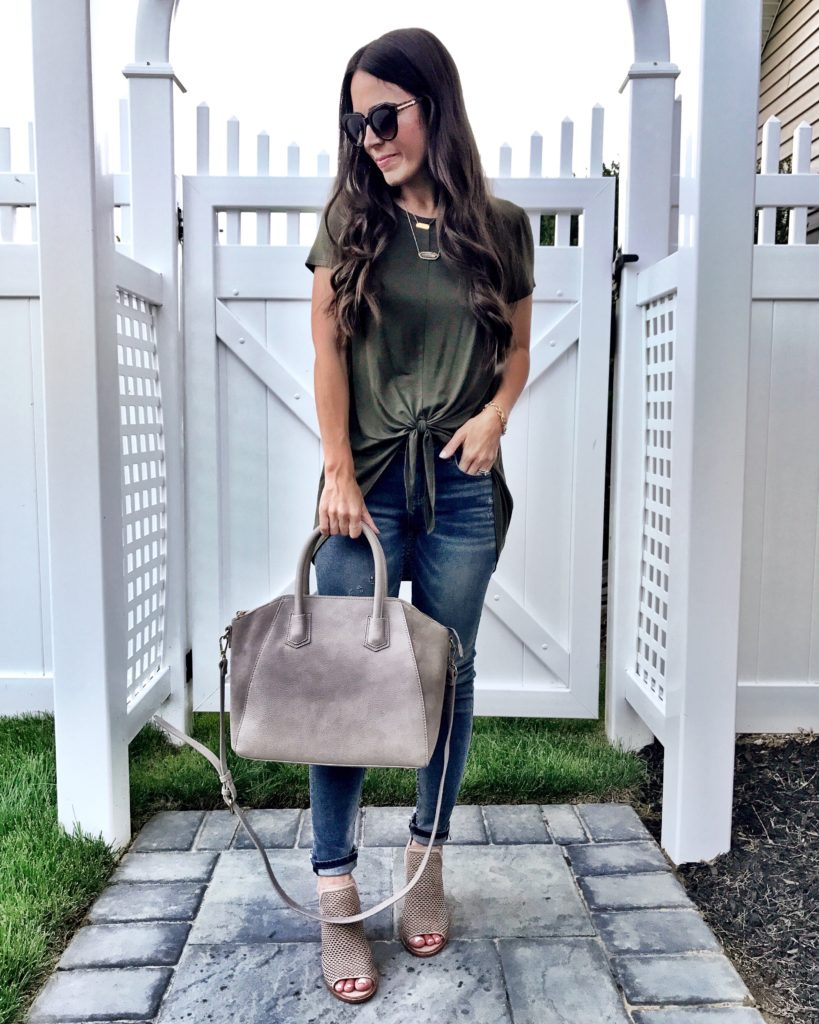 Bobeau Olive Green Tie Front Tee 4