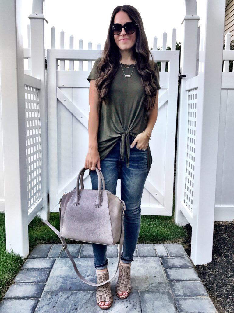 Bobeau Olive Green Tie Front Tee 6
