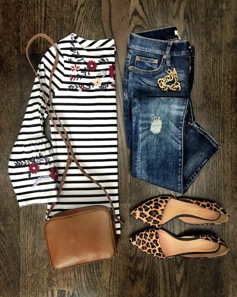 Embroidered striped bell sleeve tee outfit