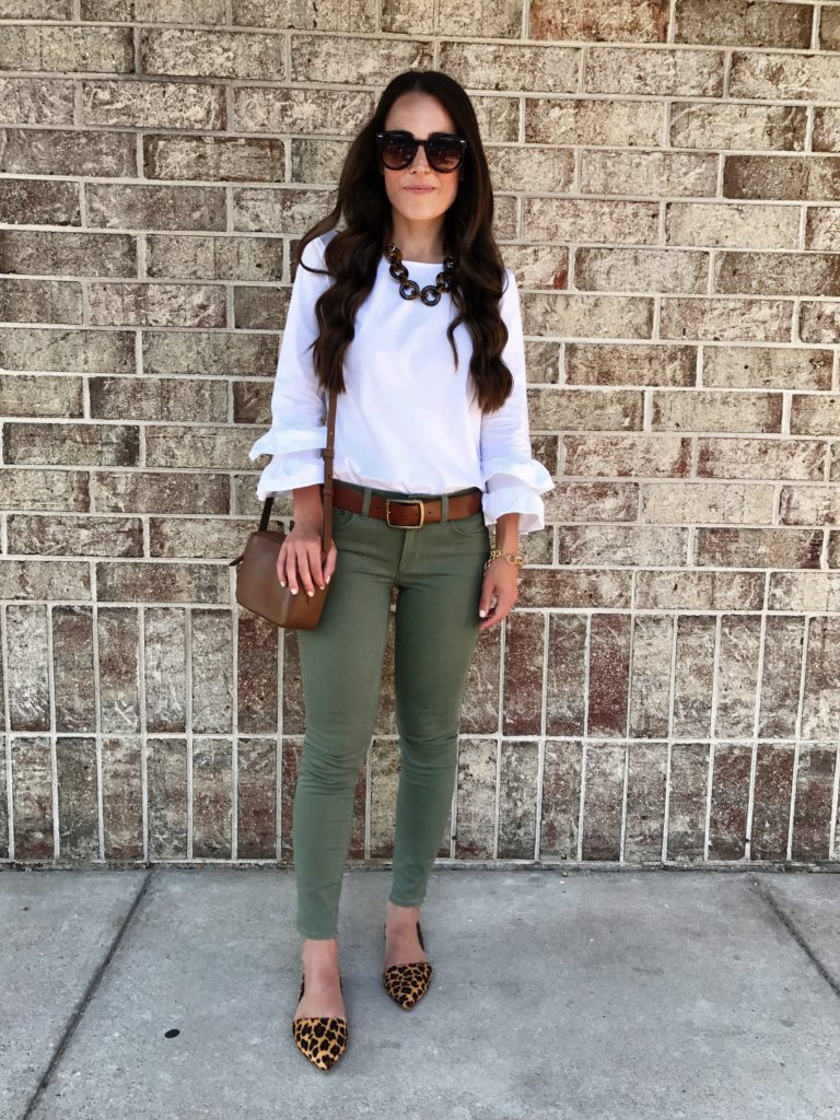 leopard flats and olive pants outfit